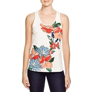 ✅TORY BURCH Sequin Floral Print Tank In New Ivory